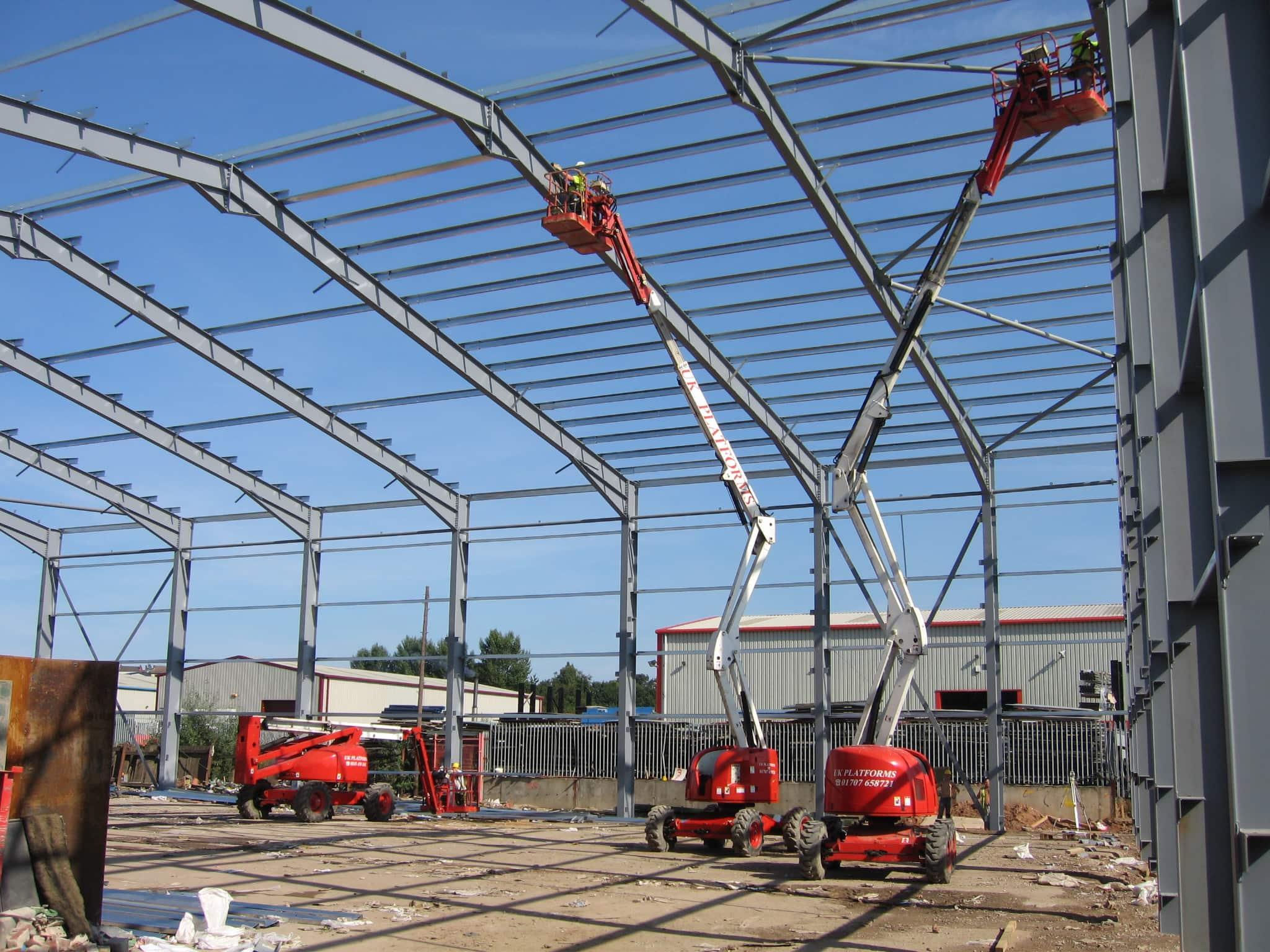 Steel building frame being erected
