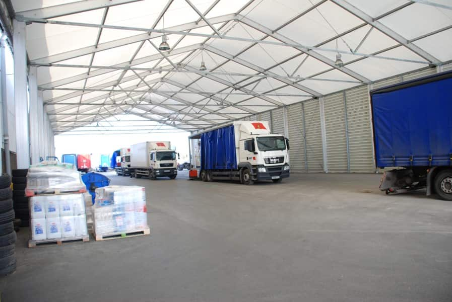 loading canopy building for deliveries and collections