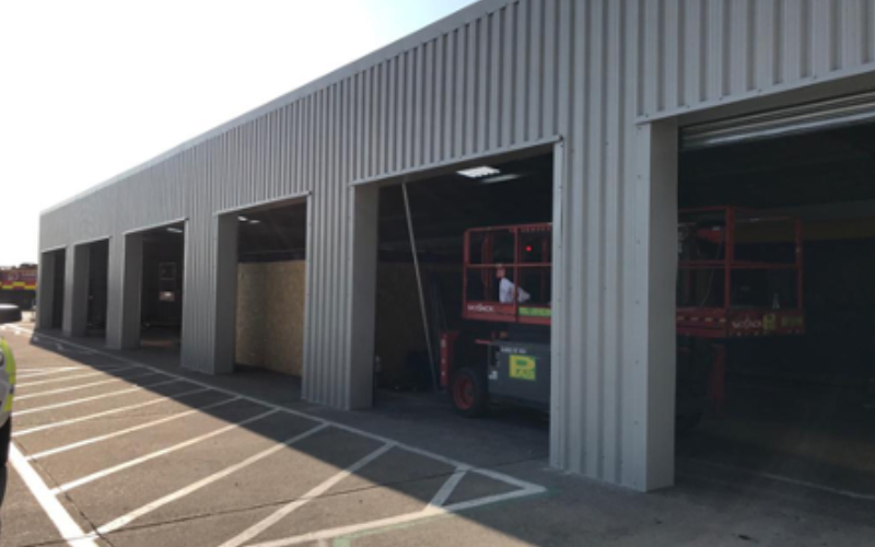 multiply entrance and loading bay building
